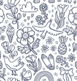 Summertime black floral seamless pattern vector image vector image