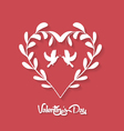 valentines day Floral Heart on Red Background vector image vector image