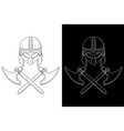 viking helmet and crossed axes hand drawn sketch vector image