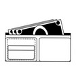 wallet with cash in black and white vector image vector image