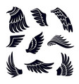 wings black silhouettes icons set isolated vector image
