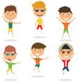happy cartoon boys jumping vector image