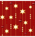 seamless christmas balls and stars on the red back vector image