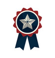 emblem with star inside and ribbon design vector image