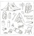 Set of hand drawn camping equipment drawings vector image