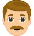 a mans face with mustaches vector image vector image