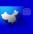abstract map of china with long shadow on blue vector image vector image