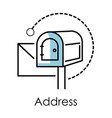 address linear symbol mailbox isolated icon vector image