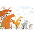 bicycle ride with wild animals vector image