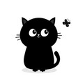 black cat sitting silhouette looking at butterfly vector image