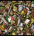 cartoon doodles italy seamless pattern vector image