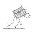 cartoon man or businessman carrying treasure vector image vector image