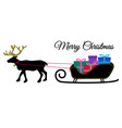 christmas reindeer with collar and pile of vector image vector image