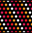 colorful polka dots on black background vector image