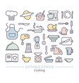 cooking icon set linear icons with editable vector image vector image
