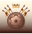 Crown Bronze shield and crossed spears vector image vector image