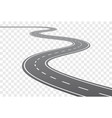 curved road with white lines vector image