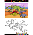 dinosaurs group cartoon coloring book vector image