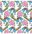 doodle elephant with leaves and rainbow cloud vector image vector image
