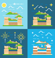 Flat design of Great wall China vector image vector image