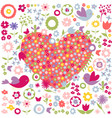 floral flowers red heart postcard vector image