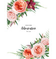 floral wedding invite invitation card design roses vector image vector image