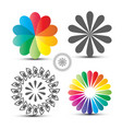 flover icons set colorful circle shapes isolated vector image vector image