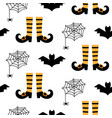 halloween seamless pattern with bats and spiders vector image vector image