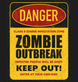 halloween warning sign danger zombie area vector image vector image