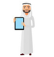 happy arab businessman showing something vector image