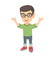 happy caucasian boy standing with raised hands vector image vector image