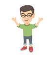 happy caucasian boy standing with raised hands vector image vector image