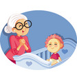 happy grandmother babysitting cute bacartoon vector image vector image