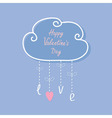Happy Valentines Day Cloud with hanging rain vector image vector image