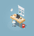 isometric home workplace vector image vector image