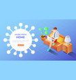 isometric web banner businessman with laptop work vector image