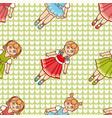little ballerina cartoon style seamless pattern vector image