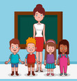 little kids group with teacher in classroom vector image vector image