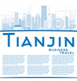 Outline Tianjin Skyline with Blue Buildings vector image vector image