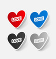 paper sticker valentines day heart vector image vector image