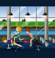 people exercise in the gym vector image vector image