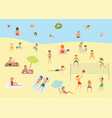 people relaxing on the summer beach vector image vector image