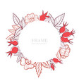 round frame with rose hip background for your vector image vector image