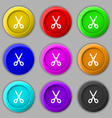 Scissors icon sign symbol on nine round colourful vector image vector image