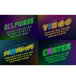 set of futuristic decorative fonts alphabet vector image