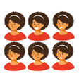 set with different emotions on girl s face joy vector image