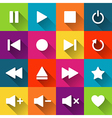 Simple media player icons on the colored tiles vector image