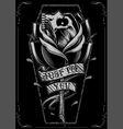 Skull Rose and Coffin vector image vector image