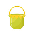 small green bucket with yellow handle plastic vector image vector image