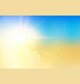 summer sunset and sky with bokeh flare on blur vector image vector image